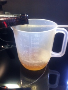 Then take one bottle of Sssnakepit Beer.  Open it, carefully.  Pour ¼ pint into a measuring jug.